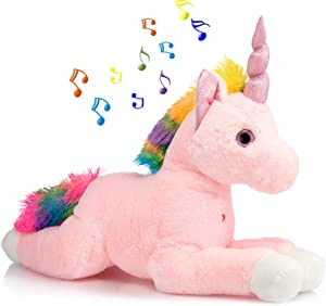 HollyHOME Plush Unicorn Stuffed Animal Large LED Unicorn with MagicalLights and Music Gifts for Kids 26 Inch Pink