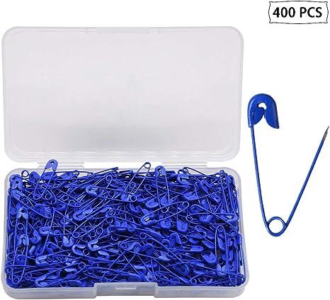 YOFASEN 400 Pezzi Spille da Balia con Scatola di immagazzinaggio Artigianato Spille in Metallo Spille da Balia Colorate durevoli rivestite per Uso dellufficio Domestico Blu