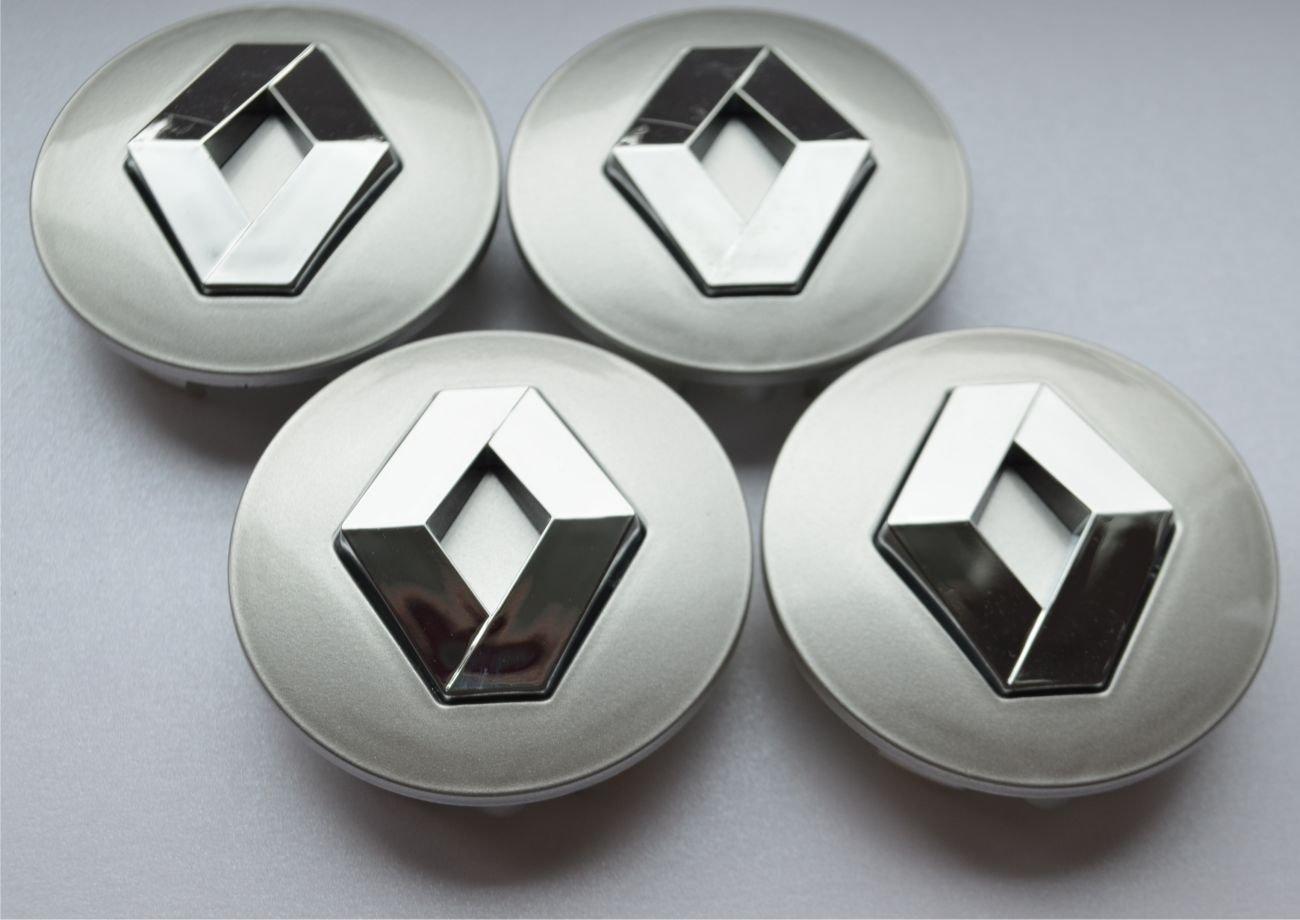 RENAULT 4x 57mm emblème Badge autocollant de voiture de moyeu de roue de centre pour Argent