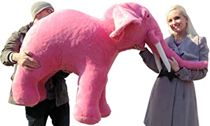 Amazon Com Big Plush American Made Giant Stuffed Pink Elephant Huge