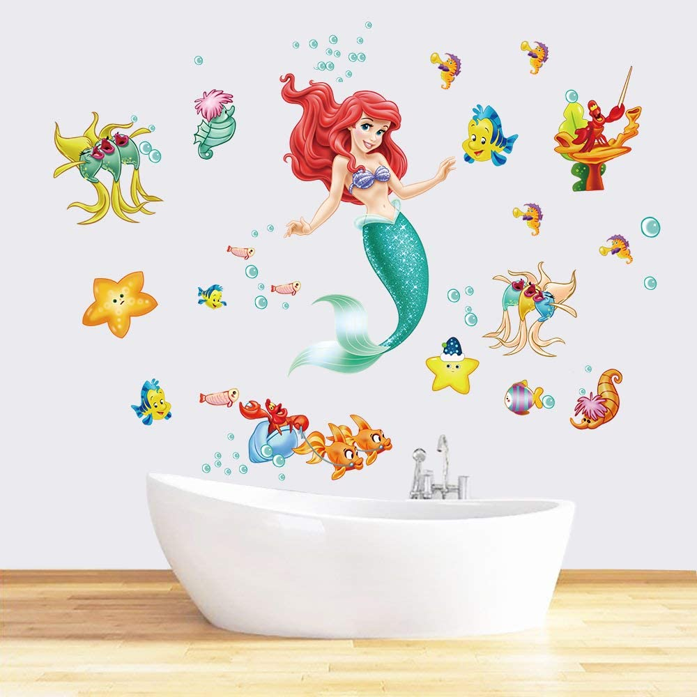 Runtoo The Little Mermaid Wall Decals for Girls Ariel Wall Stickers Princess Fish Wall Décor for Girls Bedroom Baby Nursery