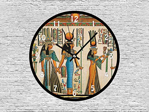 47BuyZHJX Decorative 12 Inchs Round Wall Clock-Egyptian Papyrus Depicting Queen Nefertari Making an Offering to Isis Image Print,Silent Non Ticking Quartz Battery Operated Black Wall Clock.