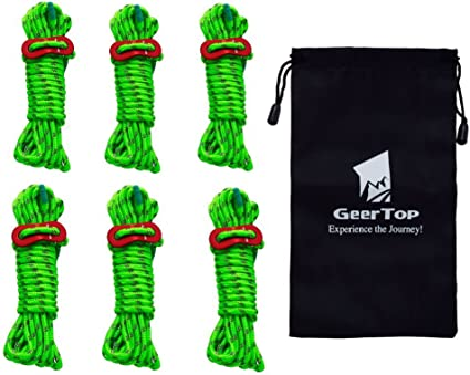 Ropes 6 Pack 4mm Tent Guy Line Reflective Cord Line Tent Guide Rope Quality