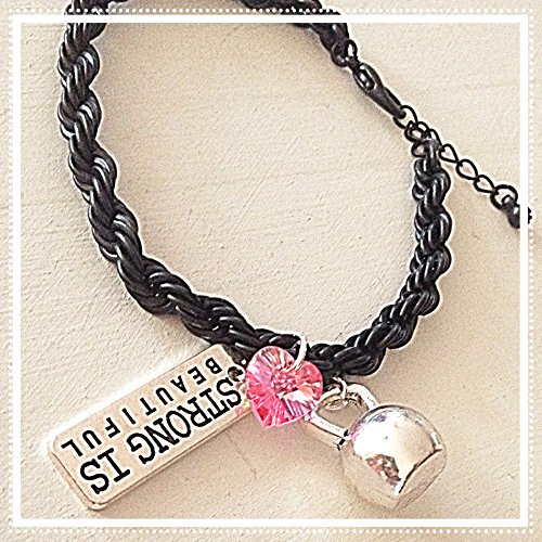 (Strong Is Beautiful Black French Rope Bracelet Silver Kettlebell & Pink Swarovski Crystal Heart-Shaped Charm Message of Strength Fitness)