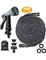 """Expandable Garden Hose pipe 100ft Green Water Hose 8 Function Spray with 1"""", 3/4"""", 1/2""""Tap Connector."""