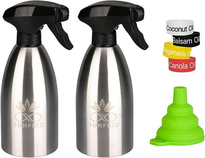 SUNFEID Olive Oil Sprayer Mister Stainless Steel Cooking Oil Dispenser Spray Olive Oil Sprayer for Air Fryer Set of 2