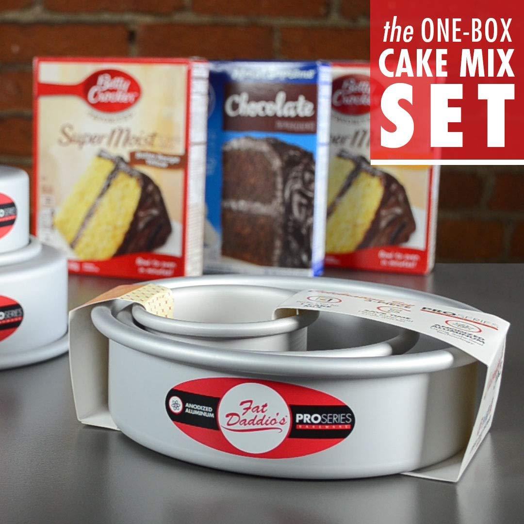 Fat Daddios PRD-1BOX Round Cake Pan Set 1-Box Mix Silver Set of 3