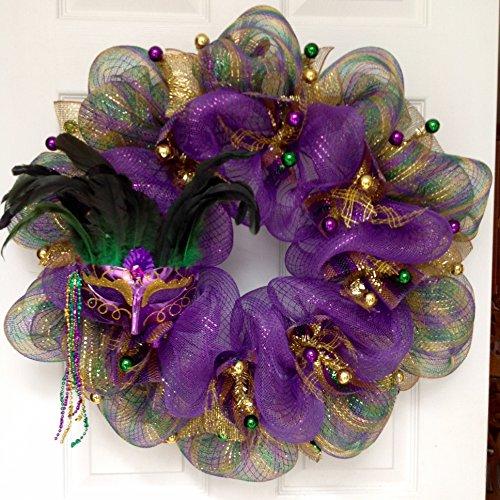 Mardi Gras Wreath Feather Mask Handmade Deco Mesh