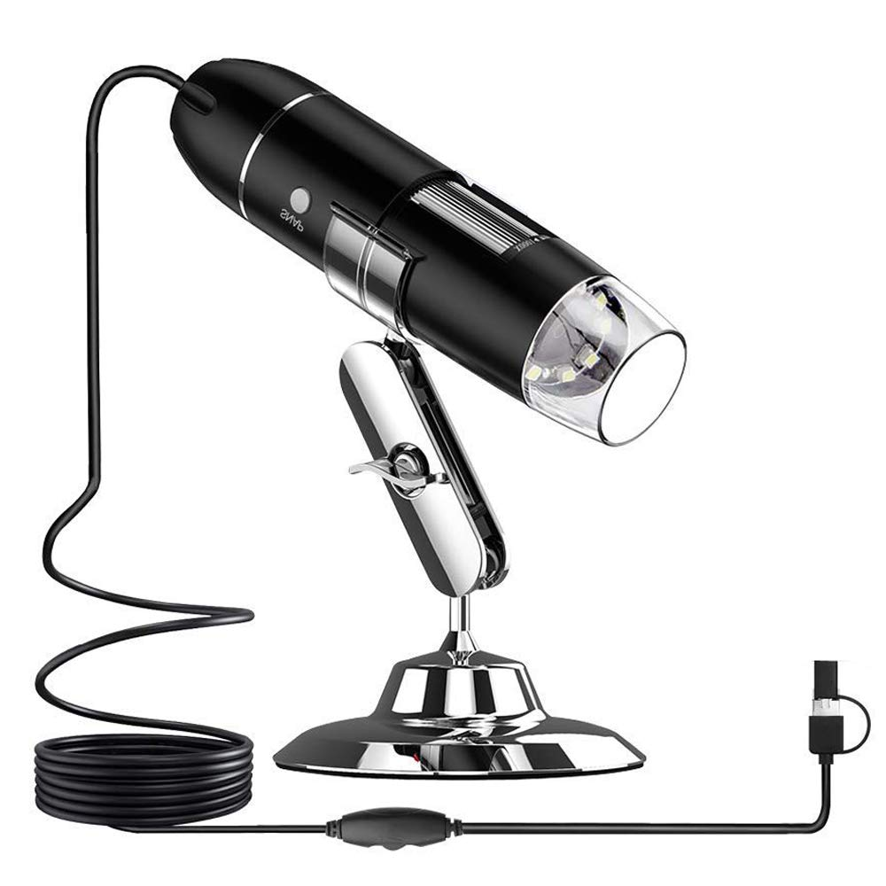 USB Portable Microscope UMTELE 3 in 1 1000x Magnification Mini Digital Microscope with 8 LED and Metal Stand for Mac, Window 7 8 10 and Most Android (with OTG Function)
