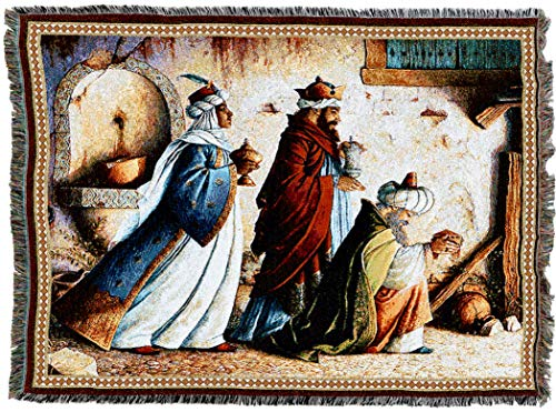 (Pure Country Weavers | Three Kings Holy Land Christmas Woven Tapestry Throw Blanket with Fringe Cotton USA 72x54)