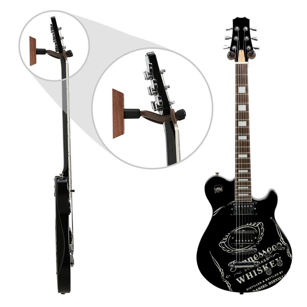 3 Pack Guitar Wall Mount, Neboic Wood Guitar Wall Hanger, Black Walnut Guitar Hook, Guitar Accessories for Acoustic Electric Bass Ukulele Guitar