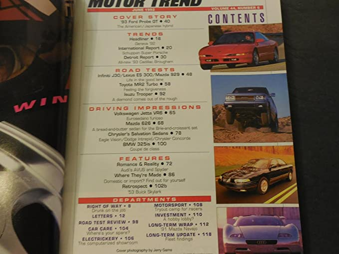 Motor Trend Jun 1992 Probe GT; Dodge Stealth; MR2 Turbo; Lexus at Amazons Entertainment Collectibles Store