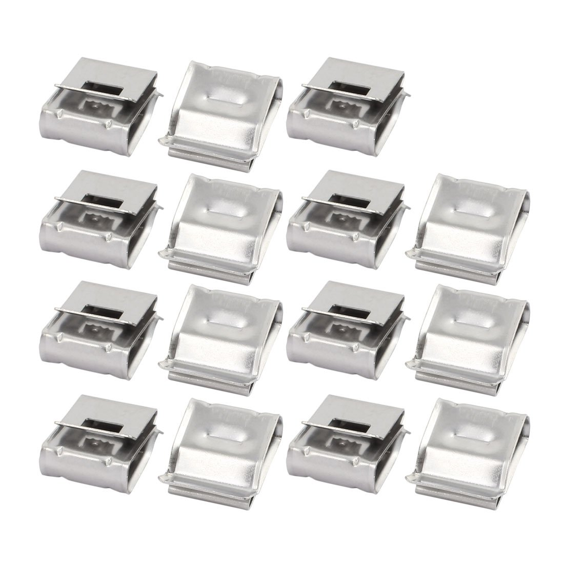 uxcell 15Pcs Solar Mounting Stainless Steel Flat Cable Clamp Fit for 2 x 5mm Dia Cable