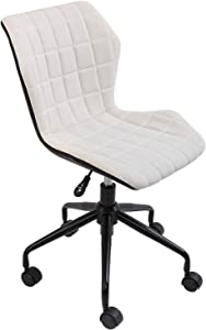 FlexiSpot Home Office Chair Ergonomics Computer Chair Adjustable Height Low Back Armless Swivel Room Task Office Chair White for Women Adults