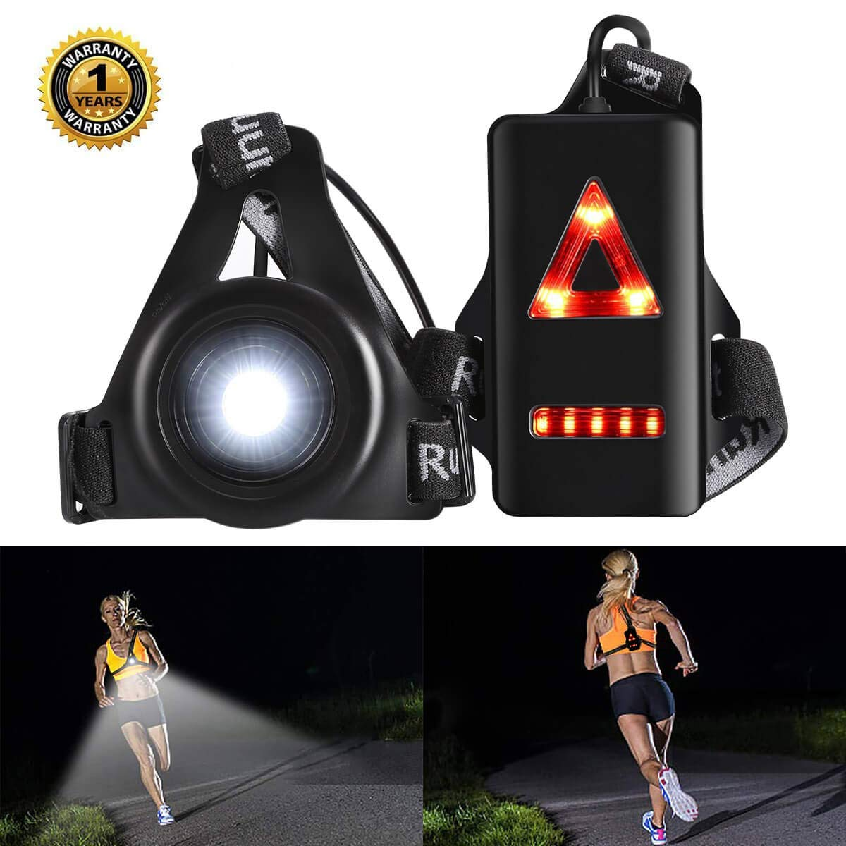 ALOVECO Outdoor Night Running Lights LED Chest Light Back Warning Light with Rechargeable Battery for Camping, Hiking, Running, Jogging, Outdoor Adventure by ALOVECO