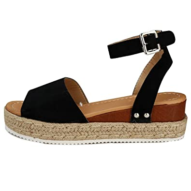 18408f1969 Comeon Women\'s Flatform Espadrilles Ankle Strap Buckle Open Toe Faux  Leather Studded Wedge