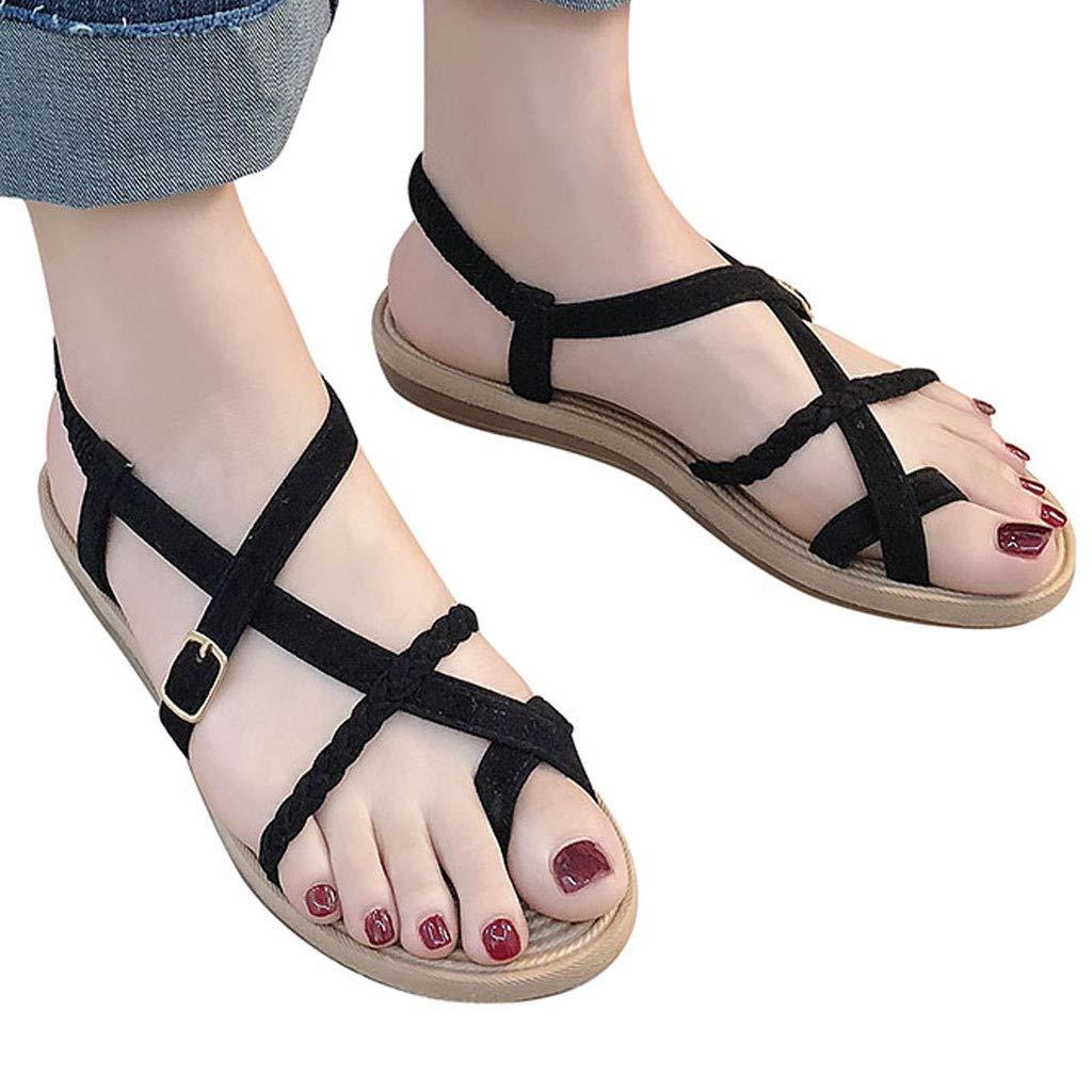 Creazrise Womens Cross Toe Double Buckle Wild Cross Strap Summer Leather Flat Roman Sandals Black