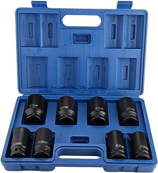Estuche de llaves de vaso de impacto, 8 boquillas de acero de 24 mm, 27 mm, 29 mm, 30 mm, 32 mm, 35 mm, 36 mm, 38 mm: Amazon.es: Coche y moto