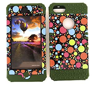 IPHONE 5 CASE (DOTS BLACK SNAP + Dark Green SKIN), SHOCKPROOF BUMPER COVER FOR IPHONE 5 5S, HARD & SOFT RUBBER HYBRID HIGH IMPACT DUAL LAYER PROTECTIVE - DG-TP904 CELLPHONE [ACCESSORIES N MORE]