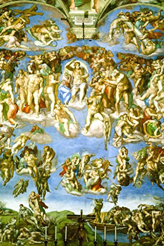(Michelangelo The Last Judgment Fresco Sistine Chapel Vatican City Vibrant Art Print Mural Giant Poster 36x54 inch)