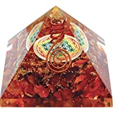 Orgonite pyramide fleur de vie Cornaline (Attire fortement la chance !)