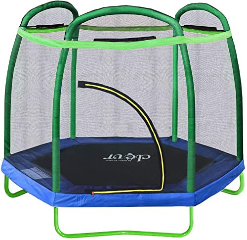 Clevr 7ft Kids Trampoline with Safety Enclosure Net Spring Pad, 7-Foot Indoor Outdoor Round Bounce Jumper 84 , Built-in Zipper Heavy Duty Frame Great Gift