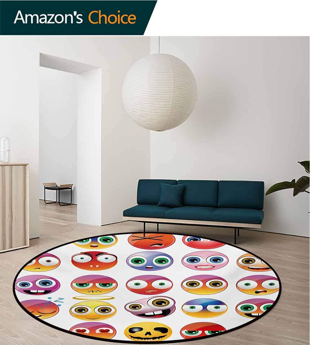 RUGSMAT Emoji Modern Machine Round Bath Mat,Rainbow Colored Cartoon Like Smiley Face Expressions Sad Happy Angry Fierce Art Print Non-Slip No-Shedding Kitchen Soft Floor Mat,Diameter-51 Inch