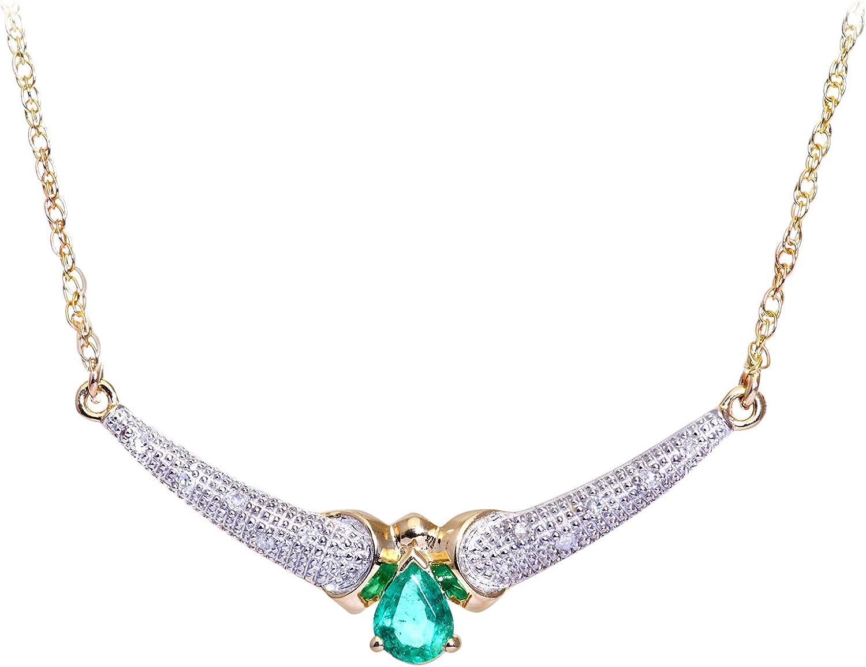 Naava Collar para Mujer de Oro Amarillo 9K con 10 Diamantes y Esmeraldas 44 cm