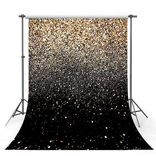 MEHOFOTO Gold Glitter Sequin Spot Black Prom Backdrops Starry Sky Shining Abstract Photo Background Birthday Party Banner Wedding Children Newborn Photography Studio Props 5x7ft ()