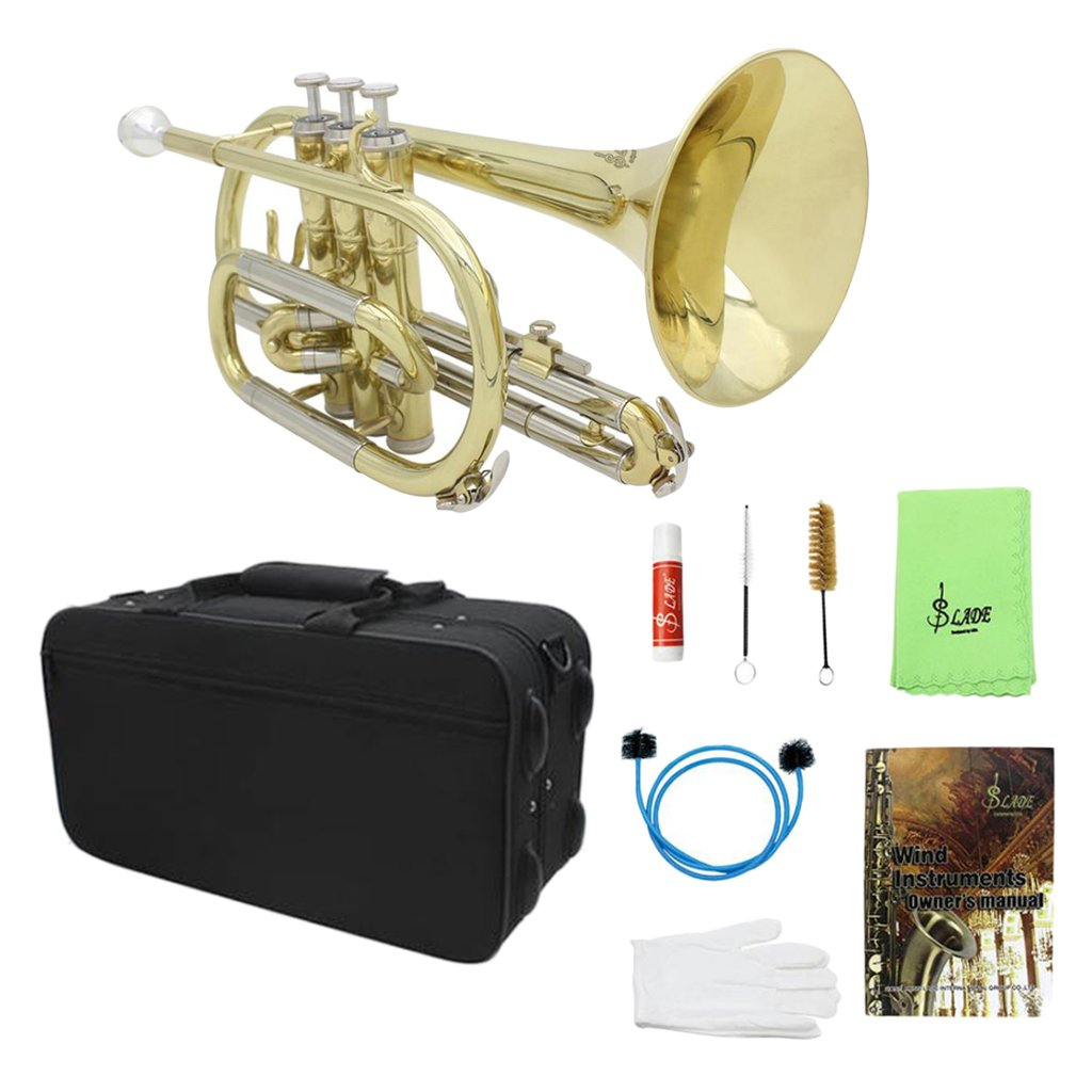 Dovewill Professional Flat Trumpet Cornet Brass Instrument Kit for Students Beginners Players