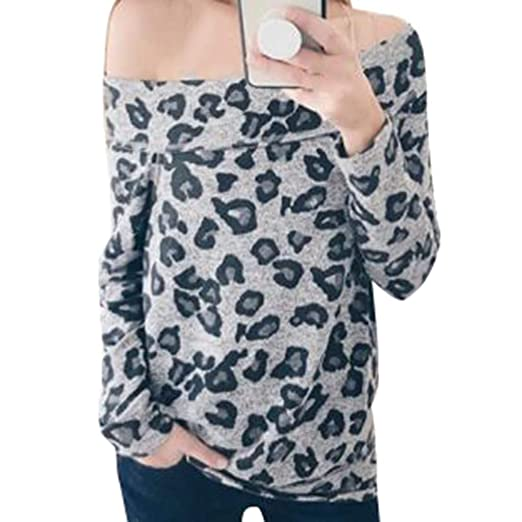 7e81cc5e1e448 Amazon.com  Women s Sexy One Shoulder Leopard Zebra Sweatshirt Long Sleeve  Print Casual Tunic Loose Blouse Tops T-Shirt  Clothing