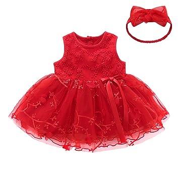 Los bebés de la falda del algodón del bebé del mameluco de vestir Bodies Body sin mangas de encaje lindo vestido de arco con 80 cm de cinta roja: Amazon.es: ...