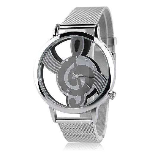 Music Note Design Relojes Unisex Correa de Acero Inoxidable Reloj de Pulsera de Cuarzo analógico 3
