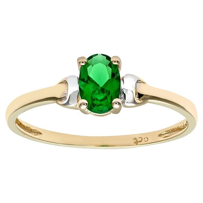 Citerna 9ct Yellow and White Gold Cubic Zirconia Emerald Birth Stone Ring P6akY