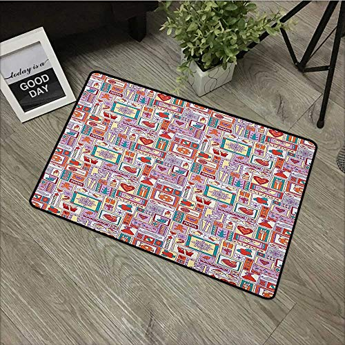 (Children's mat W35 x L59 INCH Christmas,New Year Pattern with Bells Xmas Tree Sweets Candles Citrus Snowflakes Cartoon, Multicolor Non-Slip, with Non-Slip Backing,Non-Slip Door Mat Carpet)