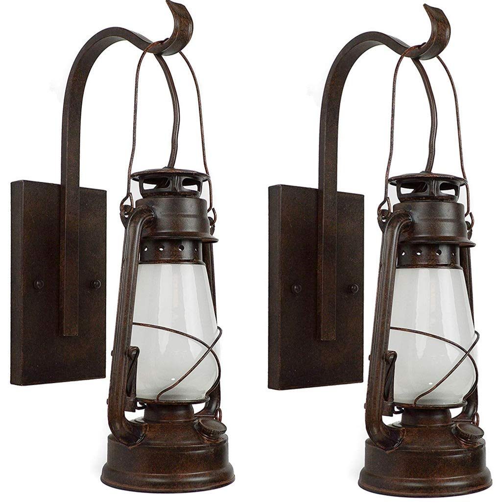 Set of Lantern Wall Sconce Large Frosted Hurricane Glass (Brown) 2 Pack