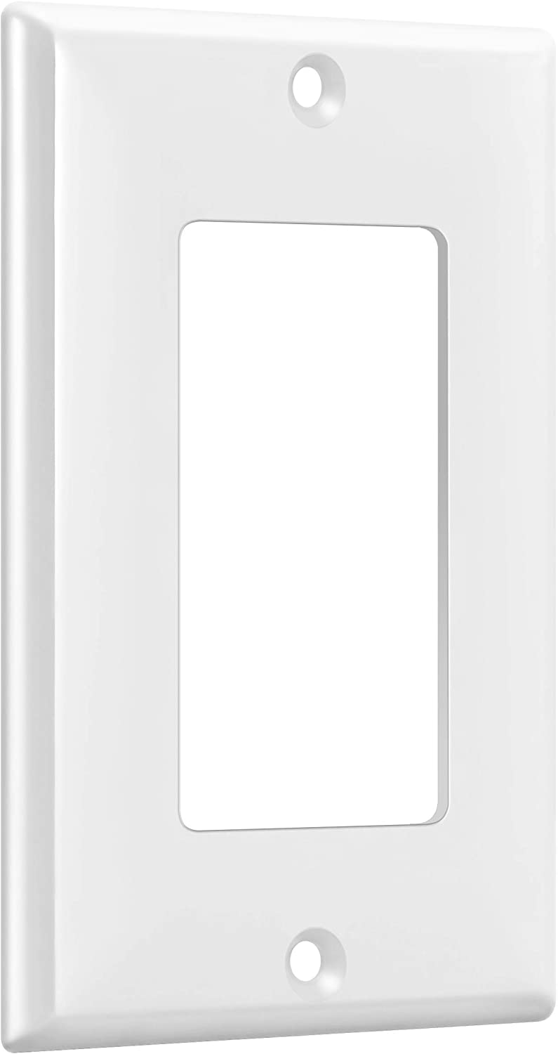 """ENERLITES Decorator Light Switch or Receptacle Outlet Wall Plate, Size 1-Gang 4.50"""" x 2.76"""", Unbreakable Polycarbonate Thermoplastic, UL Listed, 8831-W, White: Home Improvement"""