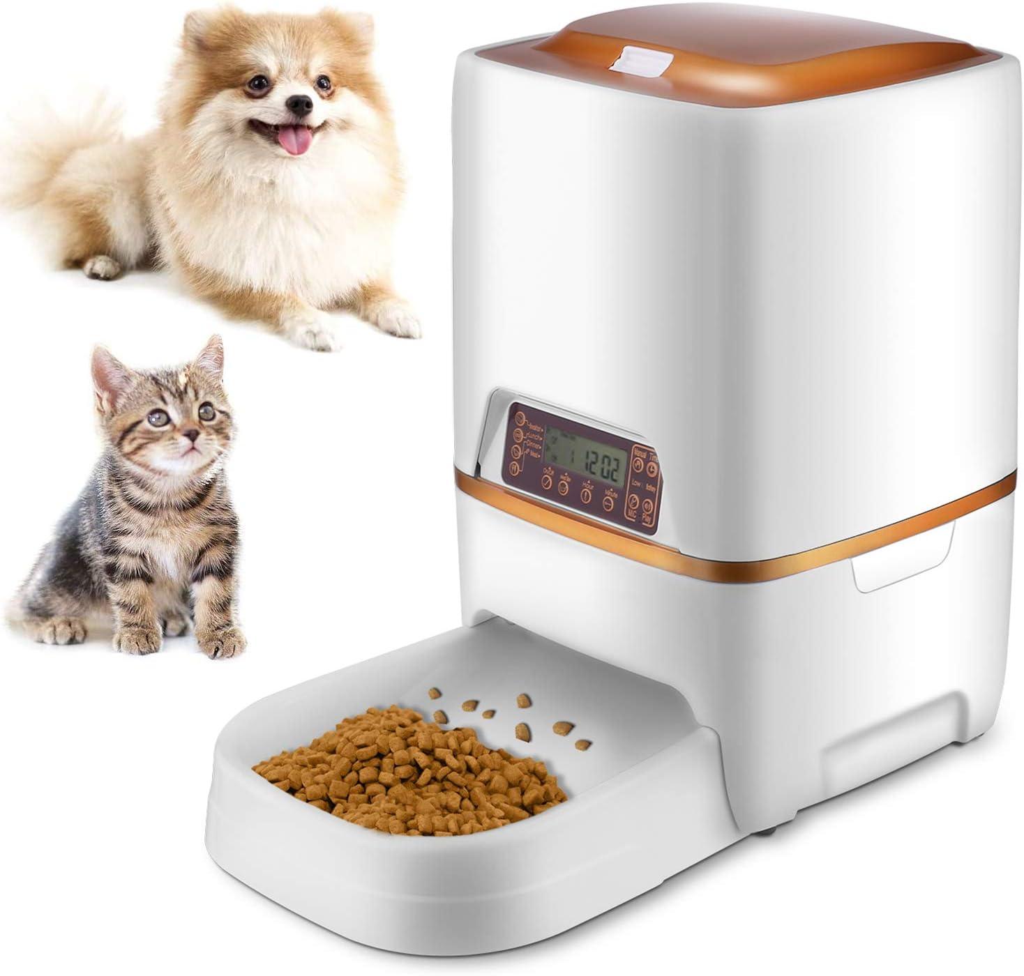 Sailnovo 6L Comedero Automático para Perro y Gato con Grabación de Voz, Temporizador, Detección de Infrarrojos, Consumo de Energía Bajo