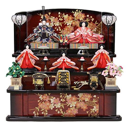 雛人形 三段飾り 五人飾り5人ひな人形 お雛様 初節句飾り お祝い   B0785Z6PVY