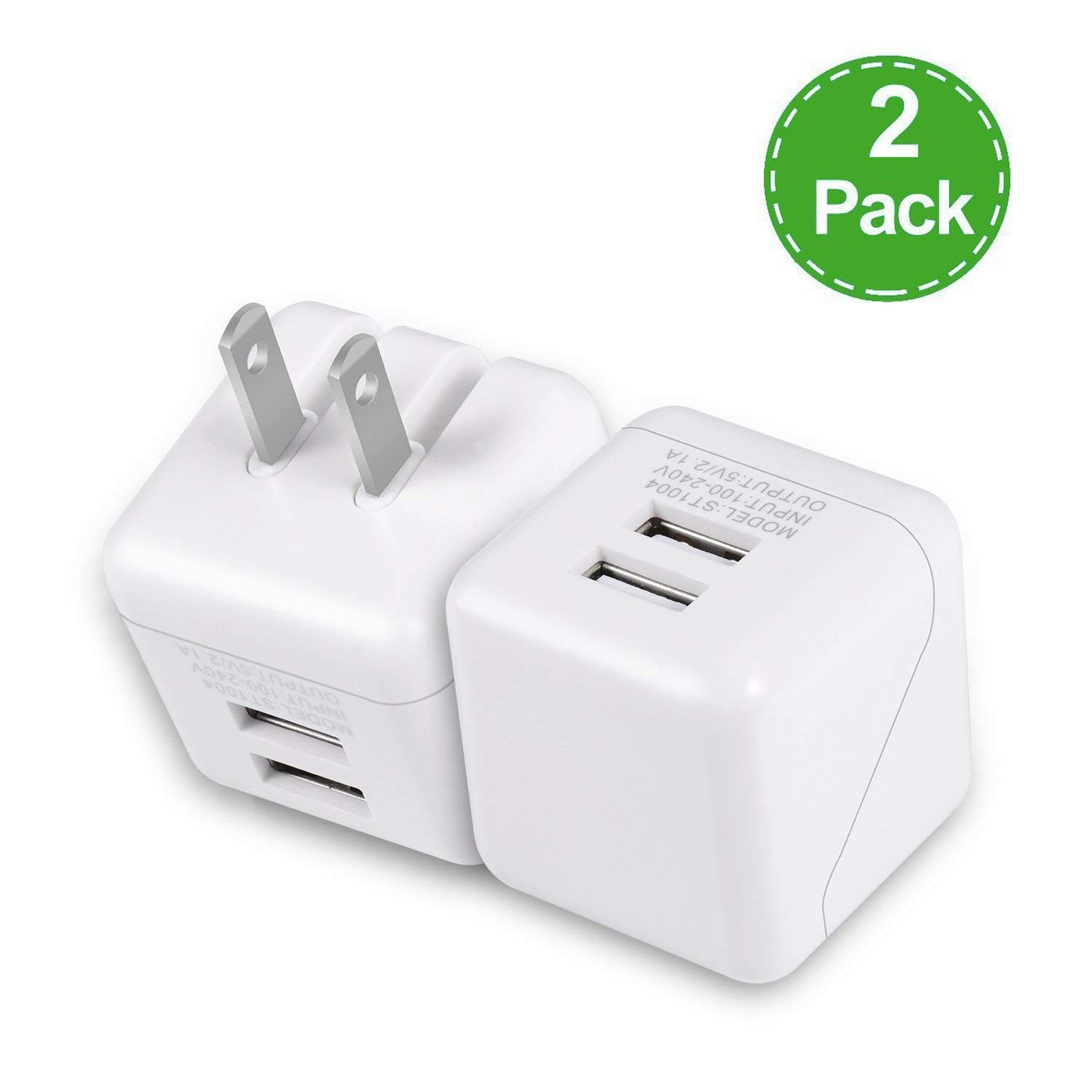 USB Wall Charger, 5V/2.1A Dual USB Wall Charger Fast Charger Portable Travel Charger with Foldable Plug for iPhone X/8/7/6s/6 Plus, iPad Pro/Air 2/mini 4, Galaxy S9/S8/S7 and More (2Pack)