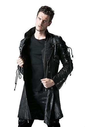 Cuir Punk Steampunk Militaire Manteau Noire Rave Small Noir Hommes Veste Gothique Faux Poison YA4xqrY