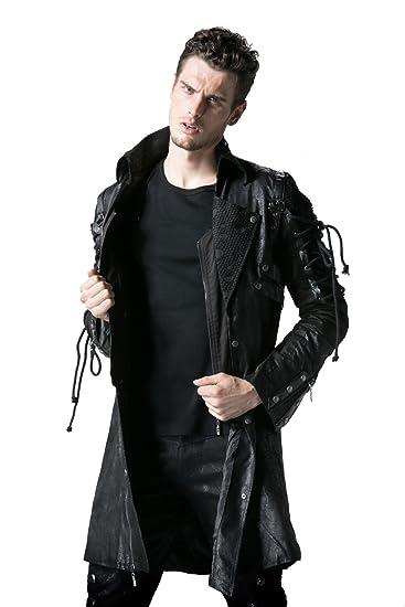 1e42af7de3eb3 Punk Rave Poison Black Jacket Mens Faux Leather Goth Steampunk Military  Coat  Amazon.co.uk  Clothing