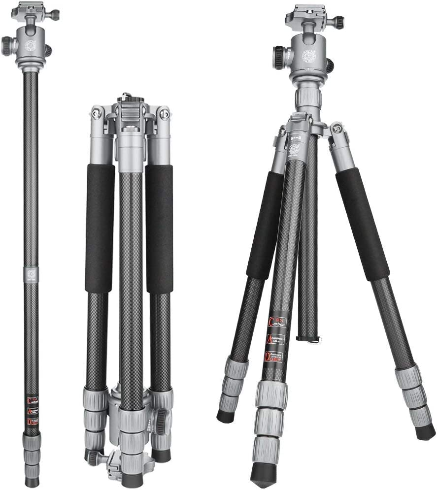 FOMEIL Carbon Fiber Camera Tripod with 360/° Ball Head 1//4 Quick Release 4 Section Professional Tripods Portable Camera Monopod Kit for All DSLR Cameras