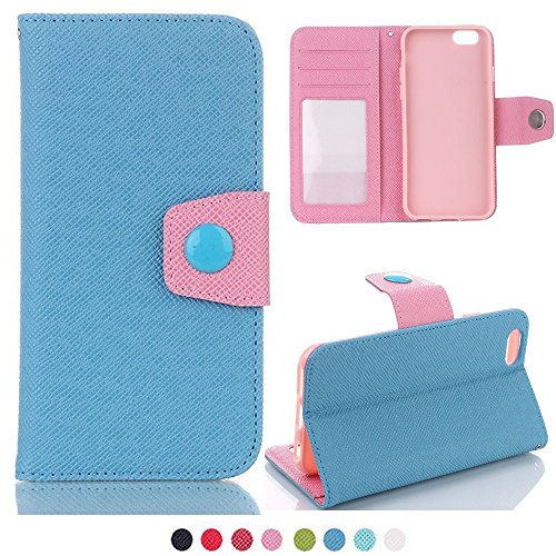 Price comparison product image iPhone 6 Plus wallet Case, YiMiky Ultra Slim Lightweight Colorful Hybrid Smart Flip Stand Premium PU Leather Card Holder Wallet Hard Shell Case for iPhone 6 / 6S Plus 5.5 inch (iPhone 6 / 6S Plus,  Blue)