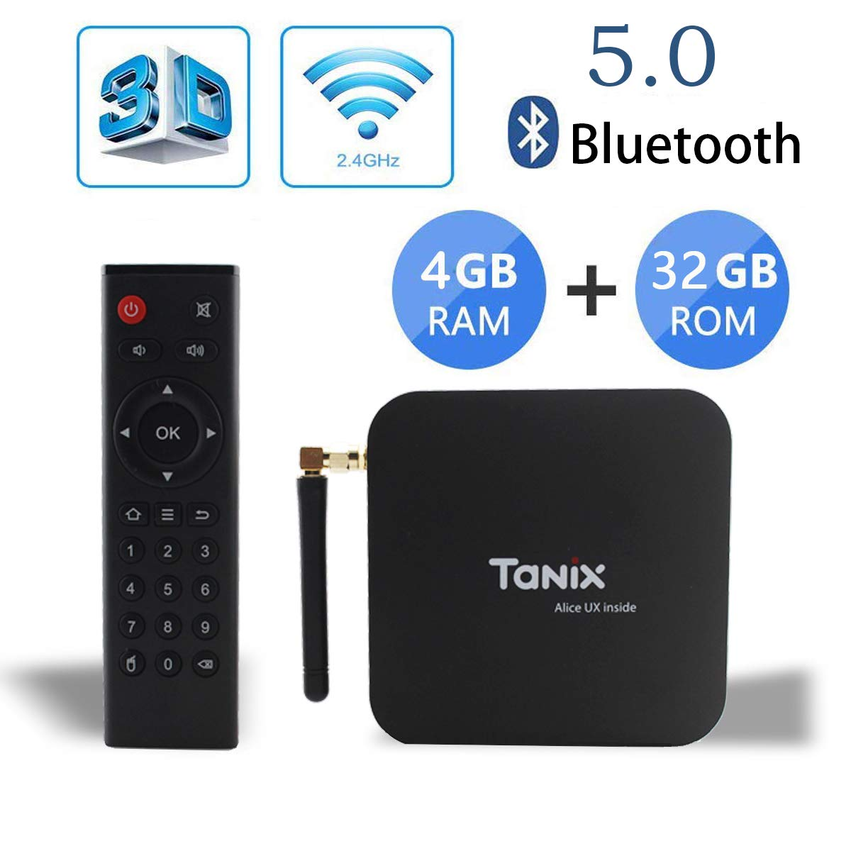 Android 9 0 TV Box,Tanix TX6 TV Box 4GB RAM(DDR3) 32GB ROM BT5 0 Dual WiFi  2 4G+5G Quad Core 1080p/4K/6K/HDR Smart TV Media Box USB 3 0