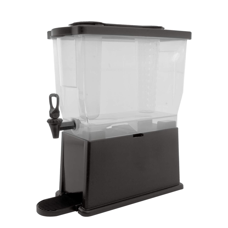 Service Ideas CBDP3BLK Beverage Dispenser w/ice Tube and Infuser Tube, Rectangular, 3 Gallon, Black