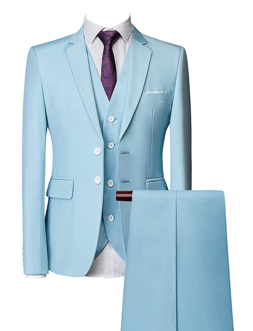MOGU Mens Three Piece Suit Slim Fit Single Breasted Two Button 10 Colors