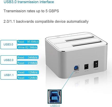 FIDECO Docking Station, Aluminio USB 3.0 Base de conexión con función de clon Offline y 2 bahias para SATA I/II/III HDD y SSD de 2,5/3,5 Pulgadas, hasta 2X 10TB: Amazon.es: Electrónica