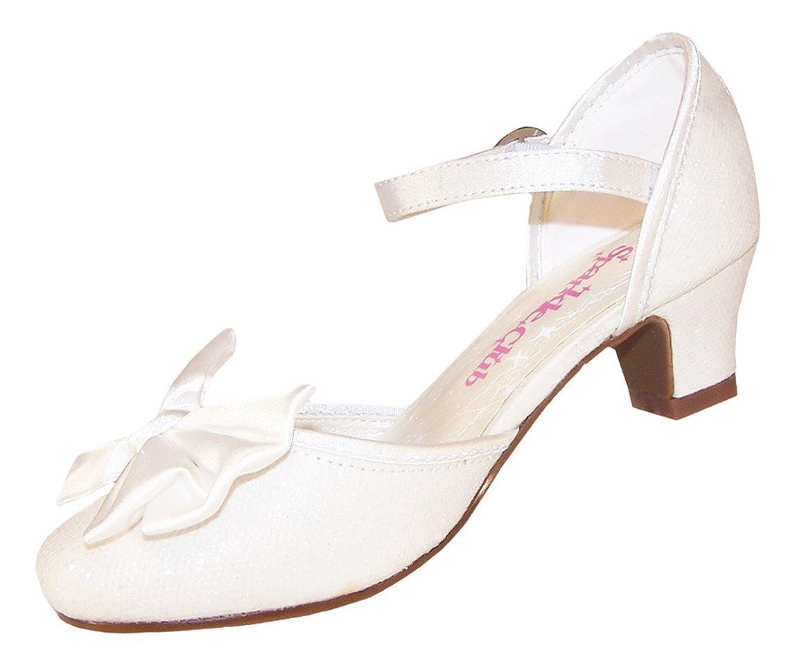 Little People Winter White Satin Child Wedding Shoes UK 13