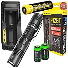 NITECORE P12GT 1000 Lumen CREE LED 350 yards long throw tactical flashlight with Nitecore UM10 USB charger, NL183 rechargeable 18650 Battery and 2 X EdisonBright CR123A Lithium Batteries Bundle by EdisonBright